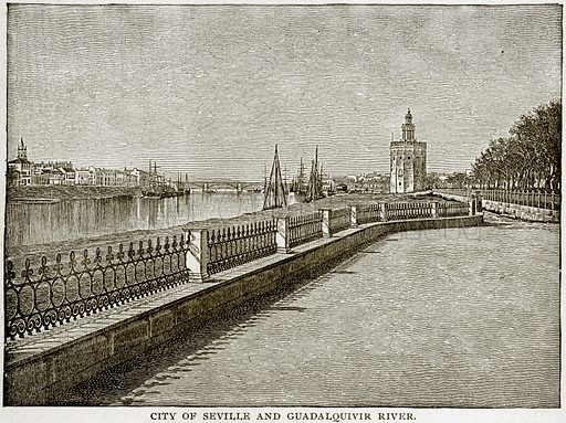 City of Seville and Guadalquivir River. Illustration from Columbus and Columbia (Manufacturers' Book Co, c 1893).