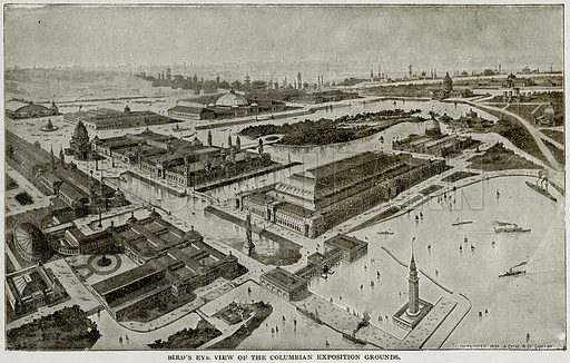 Bird's Eye View of the Columbian Exposition Grounds. Illustration from Columbus and Columbia (Manufacturers' Book Co, c 1893).
