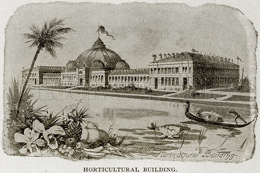 Horticultural Building. Illustration from Columbus and Columbia (Manufacturers' Book Co, c 1893).