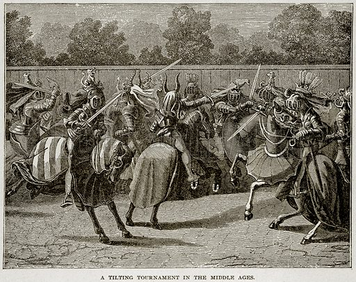 A Tilting Tournament in the Middle Ages. Illustration from Columbus and Columbia (Manufacturers' Book Co, c 1893).