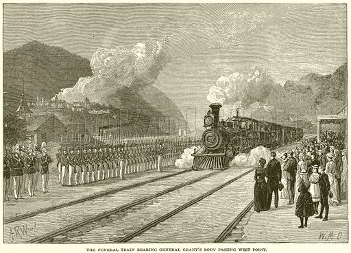 The Funeral Train bearing General Grant's Body passing West Point. Illustration from Columbus and Columbia (Manufacturers' Book Co, c 1893).