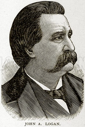 John A Logan. Illustration from Columbus and Columbia (Manufacturers' Book Co, c 1893).