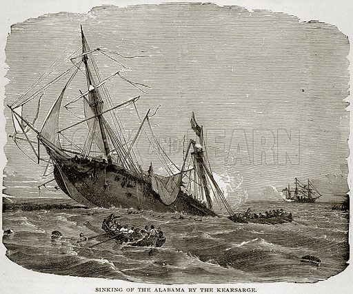 Sinking of the Alabama by the Kearsarge. Illustration from Columbus and Columbia (Manufacturers' Book Co, c 1893).