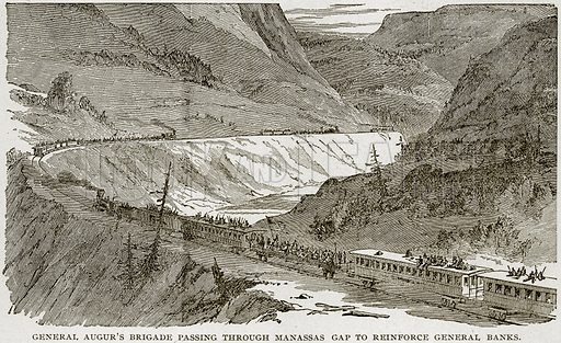 General Augur's Brigade passing through Manassas Gap to Reinforce General Banks. Illustration from Columbus and Columbia (Manufacturers' Book Co, c 1893).