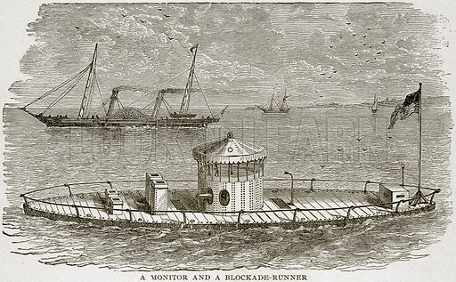 A Monitor and a Blockade-Runner. Illustration from Columbus and Columbia (Manufacturers' Book Co, c 1893).