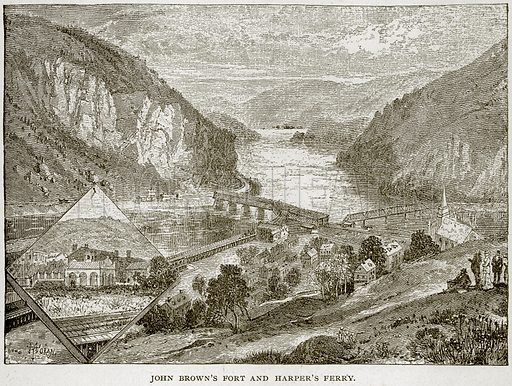 John Brown's Fort and Harper's Ferry. Illustration from Columbus and Columbia (Manufacturers' Book Co, c 1893).