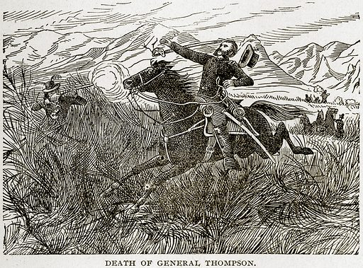 Death of General Thompson. Illustration from Columbus and Columbia (Manufacturers' Book Co, c 1893).