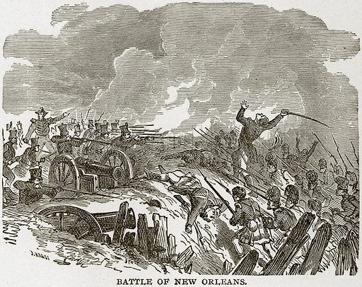 Battle of New Orleans. Illustration from Columbus and Columbia (Manufacturers' Book Co, c 1893).