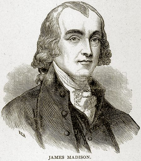 James Madison. Illustration from Columbus and Columbia (Manufacturers' Book Co, c 1893).
