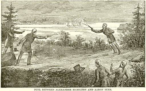 Duel between Alexander Hamilton and Aaron Burr. Illustration from Columbus and Columbia (Manufacturers' Book Co, c 1893).