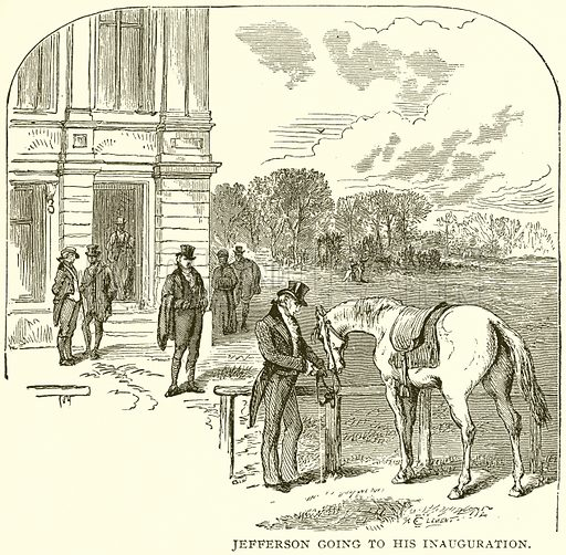 Jefferson going to his Inauguration. Illustration from Columbus and Columbia (Manufacturers' Book Co, c 1893).