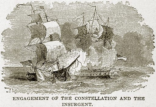 Engagement of the Constellation and the Insurgent. Illustration from Columbus and Columbia (Manufacturers' Book Co, c 1893).