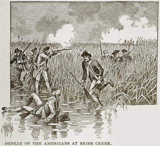 Defeat of the Americans at Brier Creek. Illustration from Columbus and Columbia (Manufacturers' Book Co, c 1893).