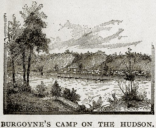 Burgoyne's Camp on the Hudson. Illustration from Columbus and Columbia (Manufacturers' Book Co, c 1893).