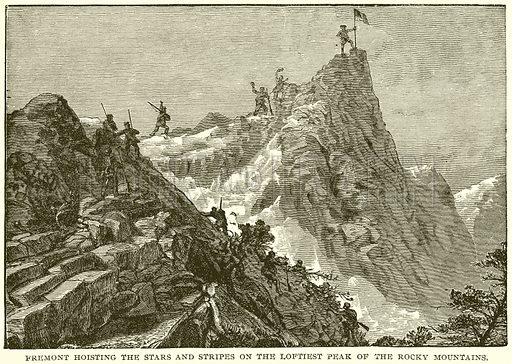 Fremont hoisting the Stars and Stripes on the Loftiest Peak of the Rocky Mountains. Illustration from Columbus and Columbia (Manufacturers' Book Co, c 1893).