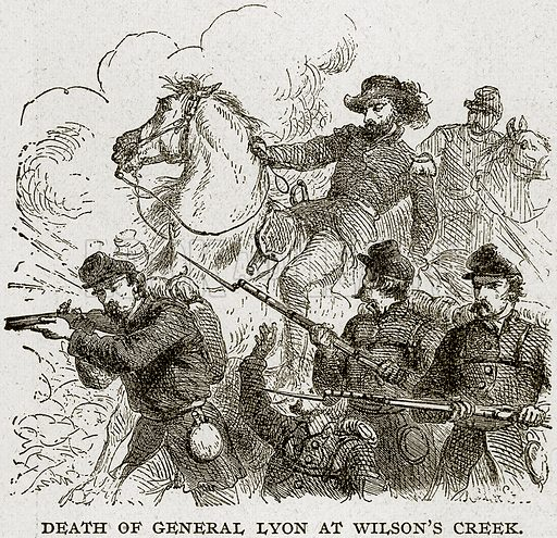 Death of General Lyon at Wilson's Creek. Illustration from Columbus and Columbia (Manufacturers' Book Co, c 1893).