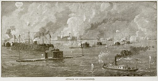 Attack on Charleston. Illustration from Columbus and Columbia (Manufacturers' Book Co, c 1893).
