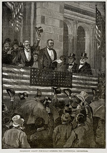 President Grant formally opening the Centennial Exposition. Illustration from Columbus and Columbia (Manufacturers' Book Co, c 1893).