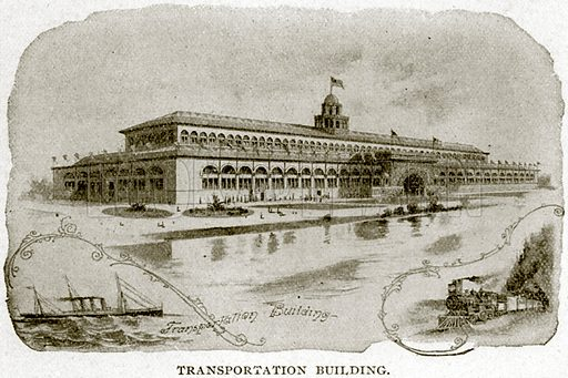 Transportation Building. Illustration from Columbus and Columbia (Manufacturers' Book Co, c 1893).