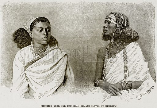 Shaikieh Arab and Ethiopian Female Slaves at Khartum. Illustration from Africa and its Inhabitants by Elisee Reclus (Virtue, c 1895).