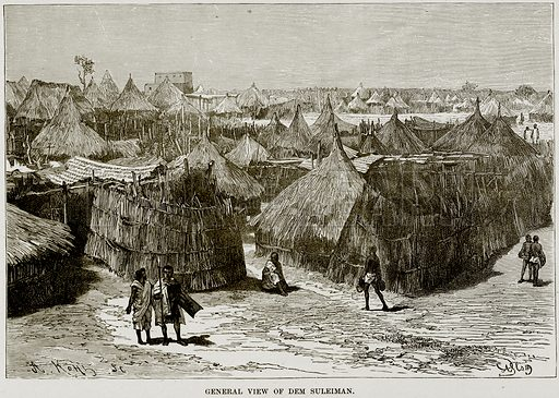 General View of Dem Suleiman. Illustration from Africa and its Inhabitants by Elisee Reclus (Virtue, c 1895).