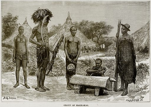 Group of Makrakas. Illustration from Africa and its Inhabitants by Elisee Reclus (Virtue, c 1895).