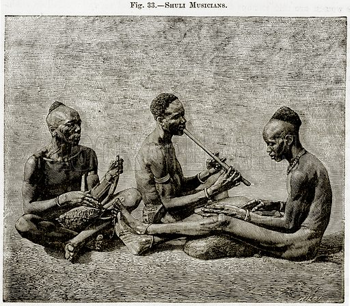 Shuli Musicians. Illustration from Africa and its Inhabitants by Elisee Reclus (Virtue, c 1895).