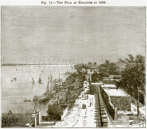 The Nile at Khartum in 1880. Illustration from Africa and its Inhabitants by Elisee Reclus (Virtue, c 1895).