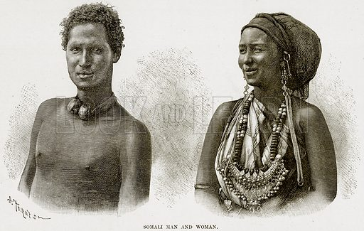 Somali Man and Woman. Illustration from Africa and its Inhabitants by Elisee Reclus (Virtue, c 1895).