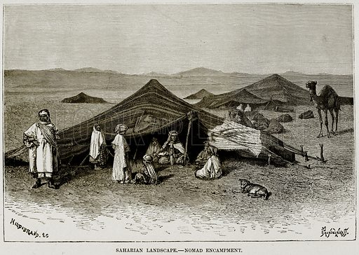 Saharian Landscape – Nomad Encampment. Illustration from Africa and its Inhabitants by Elisee Reclus (Virtue, c 1895).