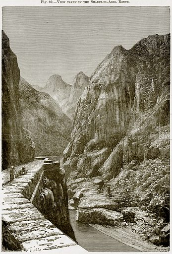 View taken in the Shabet-el-Akra Route. Illustration from Africa and its Inhabitants by Elisee Reclus (Virtue, c 1895).