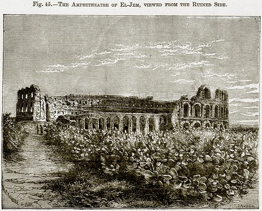 The Amphitheatre of El-Jem, Viewed from the Ruined Side. Illustration from Africa and its Inhabitants by Elisee Reclus (Virtue, c 1895).