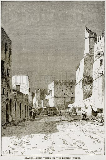 Sfakes – View taken in the Leonec Street. Illustration from Africa and its Inhabitants by Elisee Reclus (Virtue, c 1895).