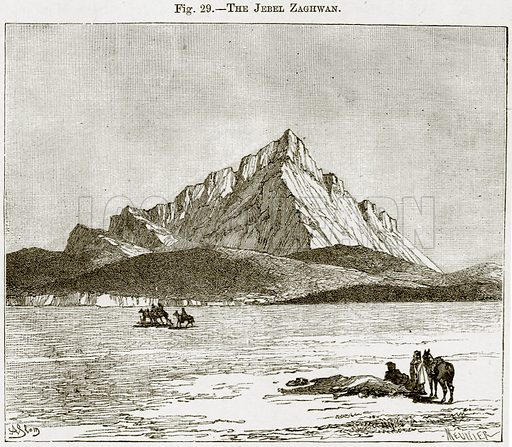The Jebel Zaghwan. Illustration from Africa and its Inhabitants by Elisee Reclus (Virtue, c 1895).