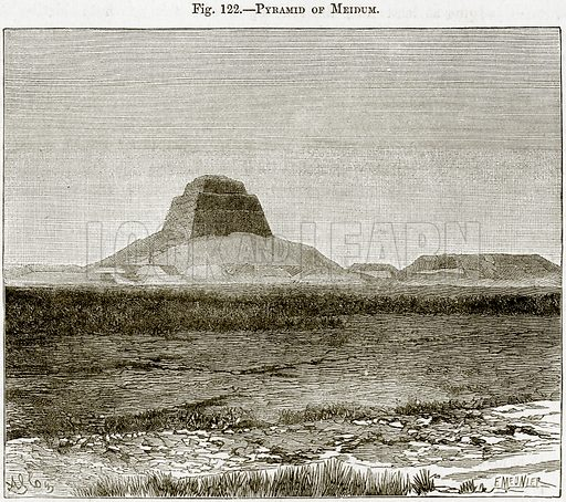 Pyramid of Meidum. Illustration from Africa and its Inhabitants by Elisee Reclus (Virtue, c 1895).