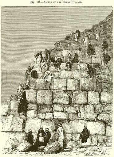 Ascent of the Great Pyramid. Illustration from Africa and its Inhabitants by Elisee Reclus (Virtue, c 1895).