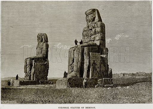 Colossal Statues of Memnon. Illustration from Africa and its Inhabitants by Elisee Reclus (Virtue, c 1895).