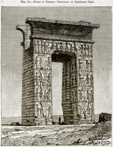 Ruins of Thebes: Propylon, or Northern Gate. Illustration from Africa and its Inhabitants by Elisee Reclus (Virtue, c 1895).