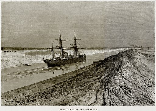Suez Canal at the Serapeum. Illustration from Africa and its Inhabitants by Elisee Reclus (Virtue, c 1895).