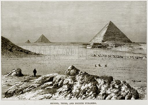 Second, Third, and Fourth Pyramids. Illustration from Africa and its Inhabitants by Elisee Reclus (Virtue, c 1895).