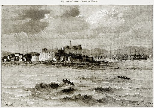 General View of Elmina. Illustration from Africa and its Inhabitants by Elisee Reclus (Virtue, c 1895).