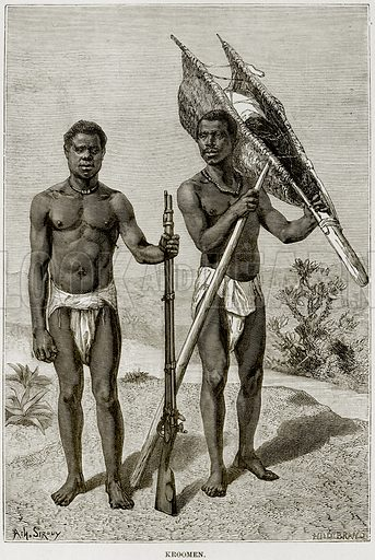 Kroomen. Illustration from Africa and its Inhabitants by Elisee Reclus (Virtue, c 1895).