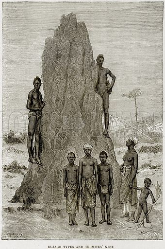 Bujago Types and Termites' Nest. Illustration from Africa and its Inhabitants by Elisee Reclus (Virtue, c 1895).