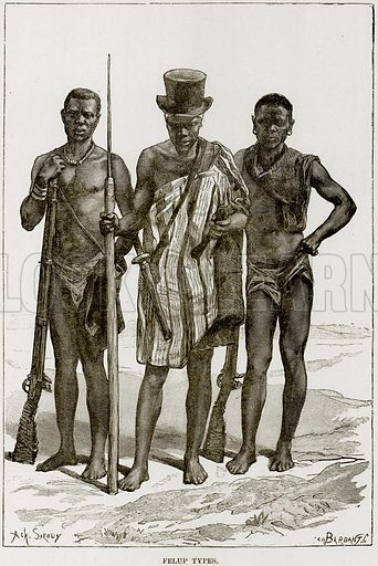 Felup Types. Illustration from Africa and its Inhabitants by Elisee Reclus (Virtue, c 1895).