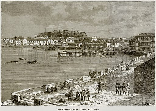 Goree – Landing Stage and Fort. Illustration from Africa and its Inhabitants by Elisee Reclus (Virtue, c 1895).