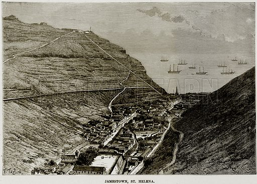 Jamestown, St Helena. Illustration from Africa and its Inhabitants by Elisee Reclus (Virtue, c 1895).