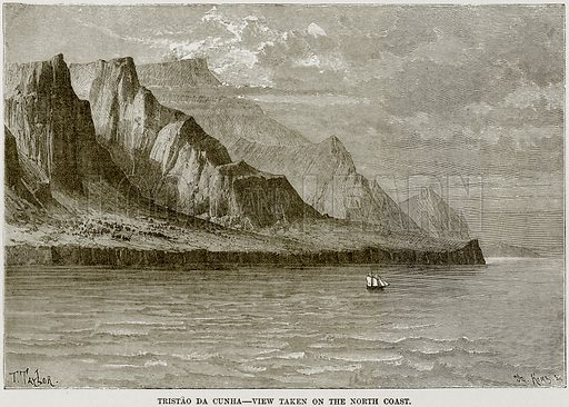Tristao da Cunha – View taken on the North Coast. Illustration from Africa and its Inhabitants by Elisee Reclus (Virtue, c 1895).
