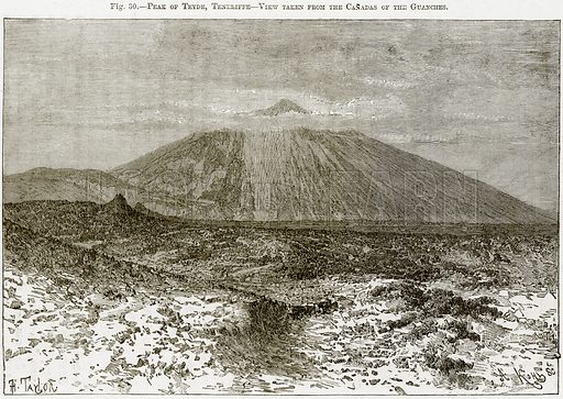 Peak of Teyde, Teneriffe – View taken form the Canadas of the Guanches. Illustration from Africa and its Inhabitants by Elisee Reclus (Virtue, c 1895).