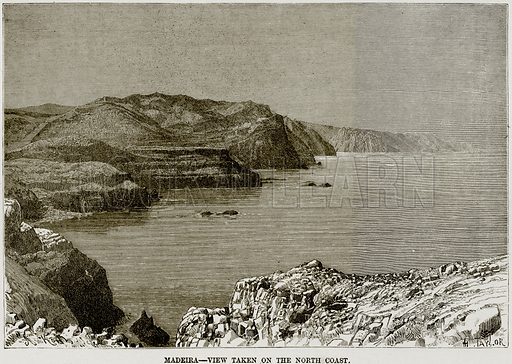 Madeira – View taken on the North Coast. Illustration from Africa and its Inhabitants by Elisee Reclus (Virtue, c 1895).