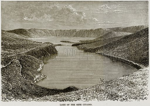 Lake of the Sete Citades. Illustration from Africa and its Inhabitants by Elisee Reclus (Virtue, c 1895).